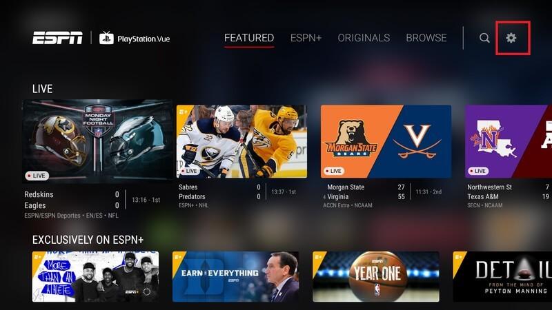 Select Settings in ESPN