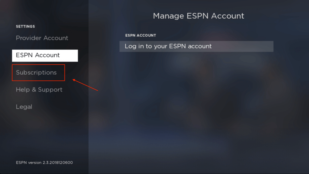Select Subscriptions - ESPN on Roku