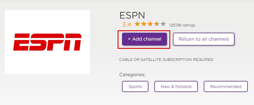 Add ESPN channel on Roku