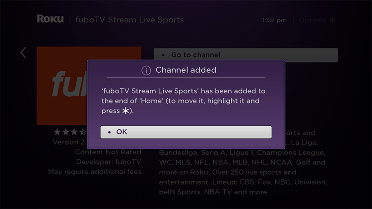 Click OK in Channel added prompt