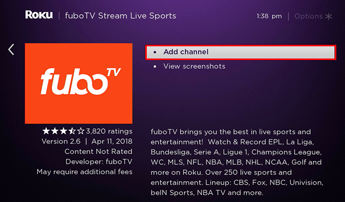 Select Add Channel to get FuboTV on Roku