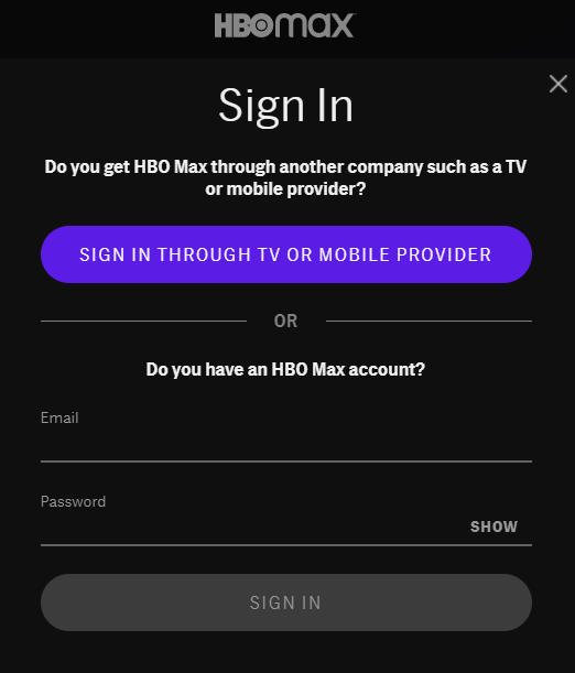 Sign in HBO Max on Roku