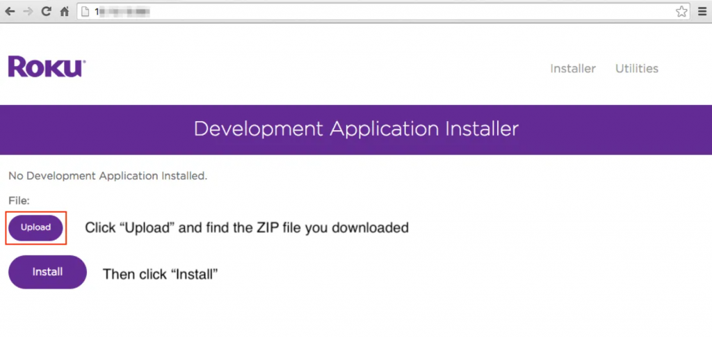 Install to sideload apps on Roku