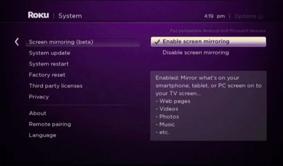 Enable Screen Mirroring option to watch Dailymotion to Roku