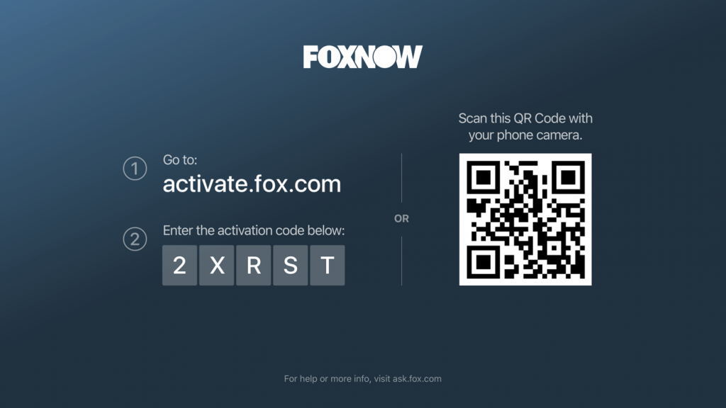 Activation code Fox Now on Roku