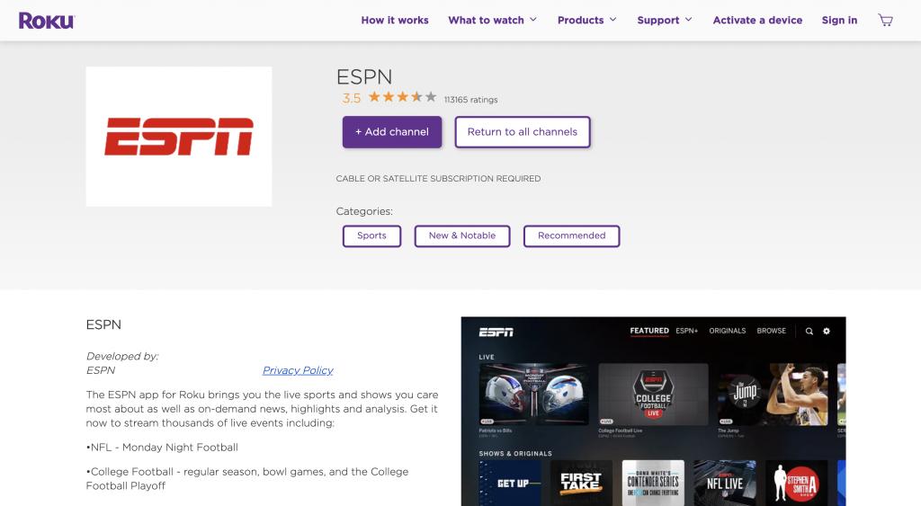 Adding ESPN MLS Live on Roku