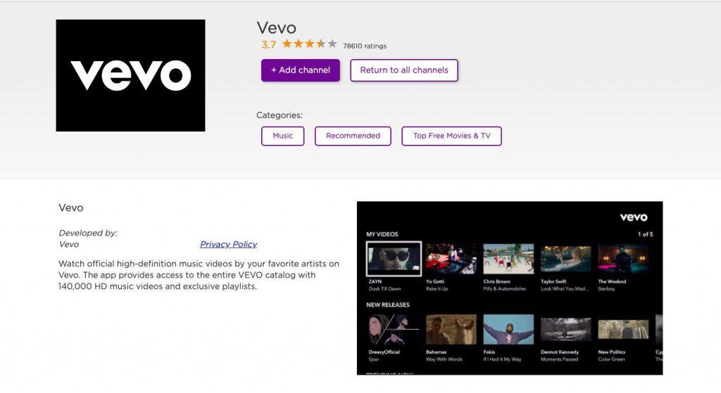 Adding channel Vevo on Roku