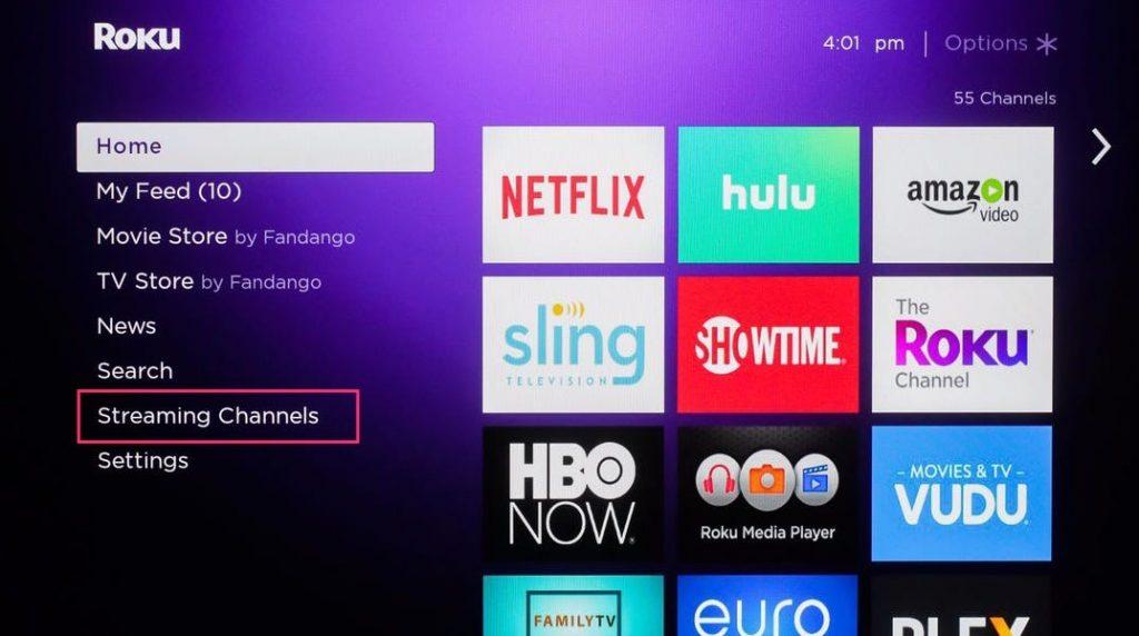 Streaming channels Vidgo on Roku